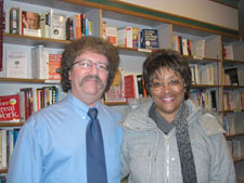 Me with Paula Perkins-Taylor, Olivia and Inmans' niece, at a Prairie Lights Books event.